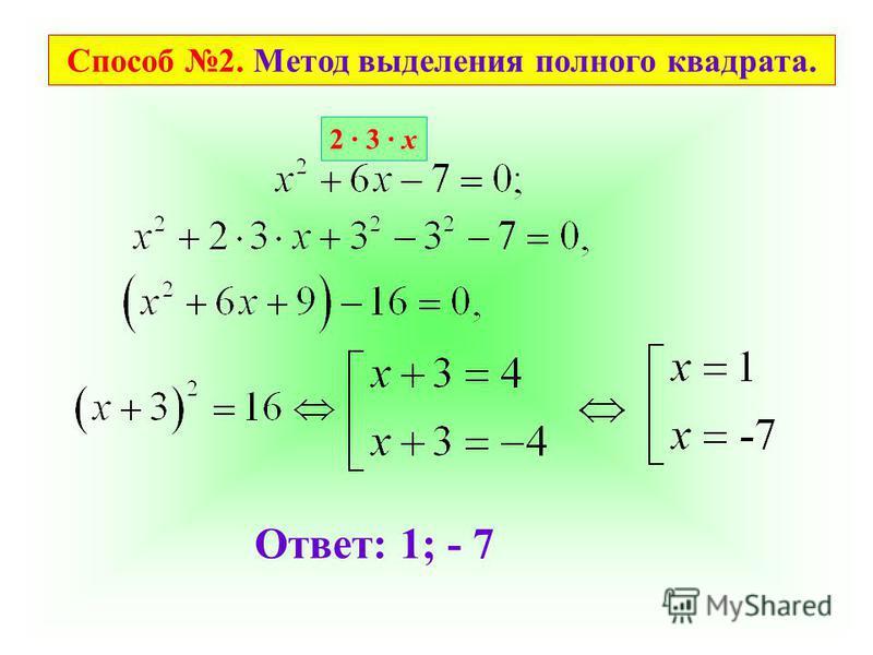 Способ 2. Метод выделения полного квадрата. 2 3 х Ответ: 1; - 7