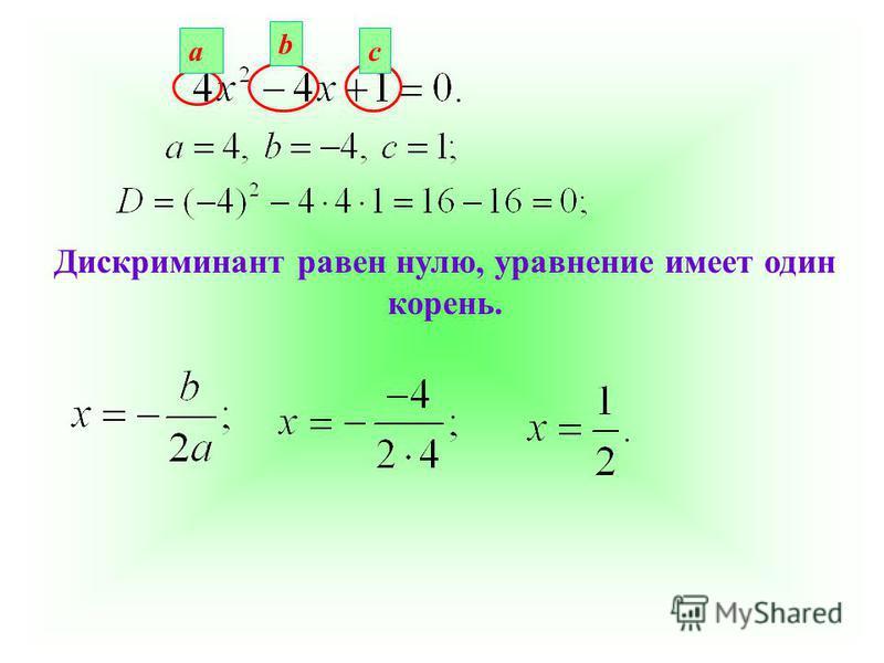 Дискриминант равен нулю, уравнение имеет один корень. а b c