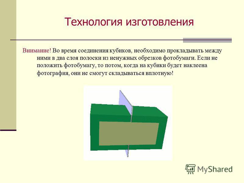 Технология изготовления Если не положить фотобумагу, то потом, когда на кубики будет наклеена фотография, они не смогут складываться вплотную! Внимание! Во время соединения кубиков, необходимо прокладывать между ними в два слоя полоски из ненужных об