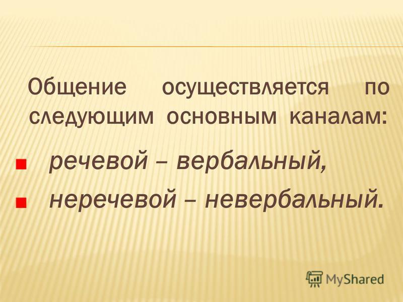 Общение осуществляется по следующим основным каналам: речевой – вербальный, неречевой – невербальный.