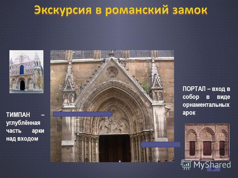 ТИМПАН – углублённая часть арки над входом ПОРТАЛ – вход в собор в виде орнаментальных арок