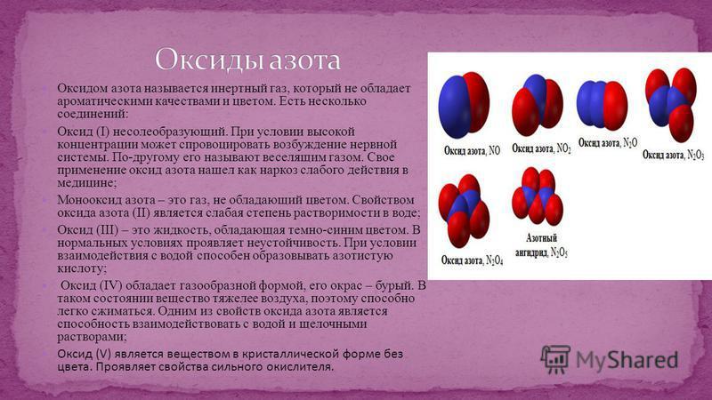 Оксидом азота называется инертный газ, который не обладает ароматическими качествами и цветом. Есть несколько соединений: Оксид (I) несолеобразующий. При условии высокой концентрации может спровоцировать возбуждение нервной системы. По-другому его на
