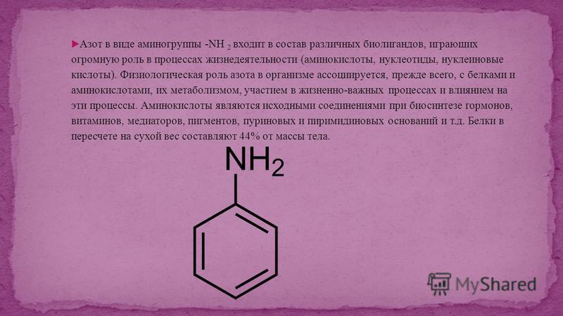 Азот в виде аминогруппы -NH 2 входит в состав различных биолигандов, играющих огромную роль в процессах жизнедеятельности (аминокислоты, нуклеотиды, нуклеиновые кислоты). Физиологическая роль азота в организме ассоциируется, прежде всего, с белками и