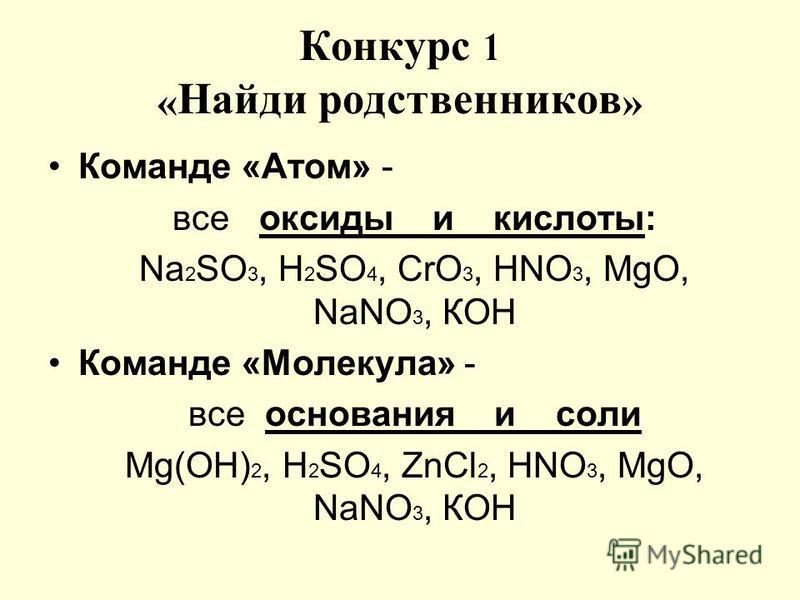 Конкурс 1 « Найди родственников » Команде «Атом» - все оксиды и кислоты: Nа 2 SО 3, Н 2 SО 4, СrО 3, НNO 3, МgО, NaNО 3, КОН Команде «Молекула» - все основания и соли Мg(ОН) 2, Н 2 SО 4, ZnСl 2, НNO 3, МgО, NаNO 3, КОН