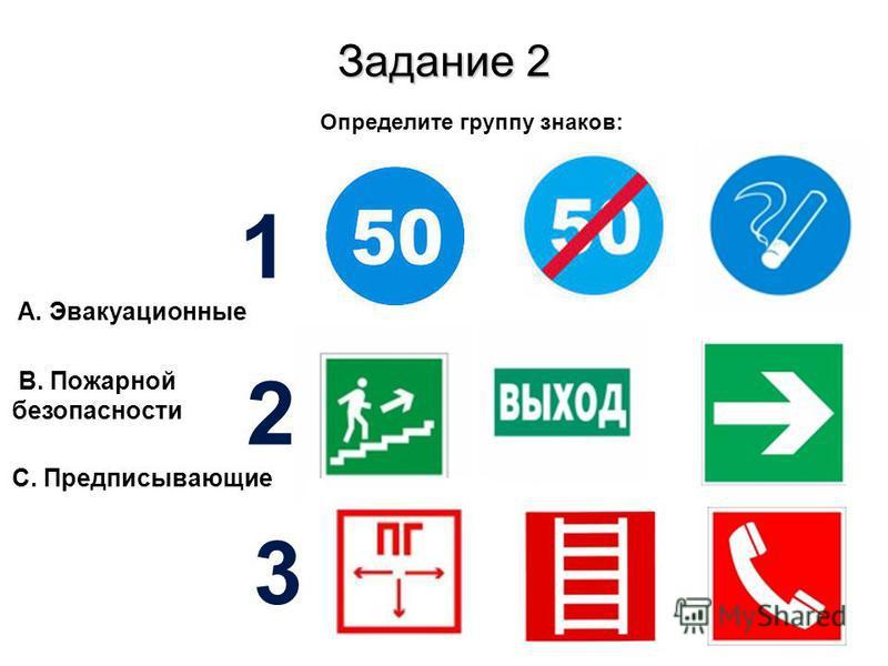 Определите группу знаков: А. Эвакуационные Задание 2 B. Пожарной безопасности С. Предписывающие 1 2 3