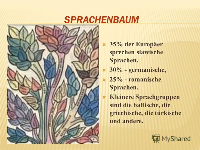 SPRACHENBAUM 35% der Europäer sprechen slawische Sprachen. 30% - germanische, 25% - romanische Sprachen. Kleinere Sprachgruppen sind die baltische, die griechische, die türkische und andere.