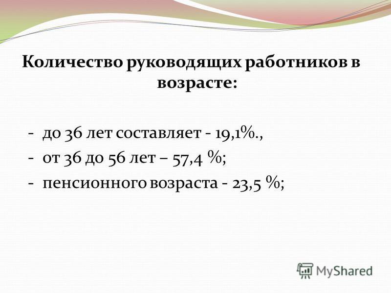 Количество руководящих работников в возрасте: - до 36 лет составляет - 19,1%., - от 36 до 56 лет – 57,4 %; - пенсионного возраста - 23,5 %;