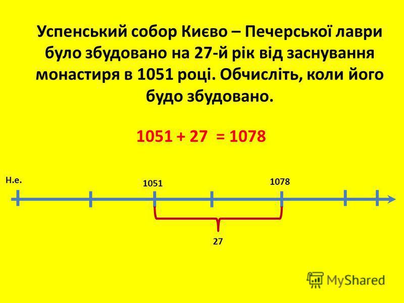 1078 27 Успенський собор Києво – Печерської лаври було збудовано на 27-й рік від заснування монастиря в 1051 році. Обчисліть, коли його будо збудовано. Н.е. 1051 + 27 = 1078 1051