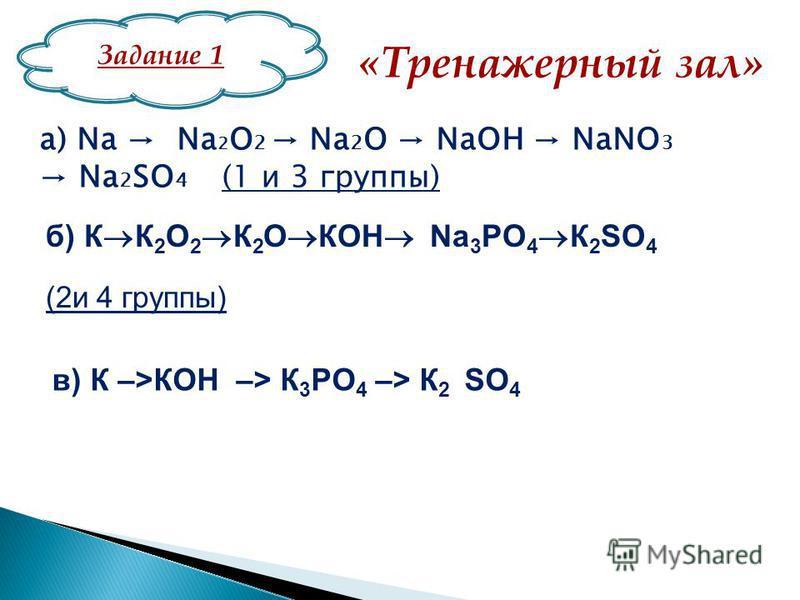 «Тренажерный зал» а) Na Na 2 O 2 Na 2 O NaOH NaNO 3 Na 2 SO 4 (1 и 3 группы) б) К К 2 O 2 К 2 O КOH Na 3 PO 4 К 2 SO 4 (2 и 4 группы) в) К –>КОН –> К 3 РО 4 –> К 2 SO 4 Задание 1