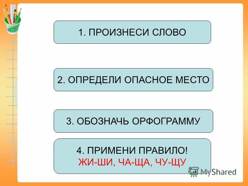 3. ОБОЗНАЧЬ ОРФОГРАММУ 1. ПРОИЗНЕСИ СЛОВО 4. ПРИМЕНИ ПРАВИЛО! ЖИ-ШИ, ЧА-ЩА, ЧУ-ЩУ 2. ОПРЕДЕЛИ ОПАСНОЕ МЕСТО
