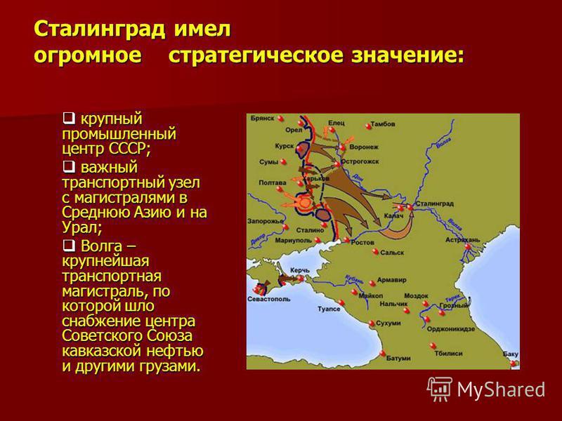 Сталинград имел огромное стратегическое значение: крупный промышленный центр СССР; важный транспортный узел с магистралями в Среднюю Азию и на Урал; Волга – крупнейшая транспортная магистраль, по которой шло снабжение центра Советского Союза кавказск