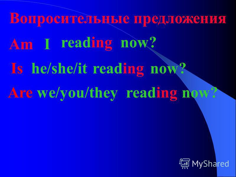 Отрицательное предложение I amreadingnownot He/she/itisnotreadingnow We/you/theyarenotreading now