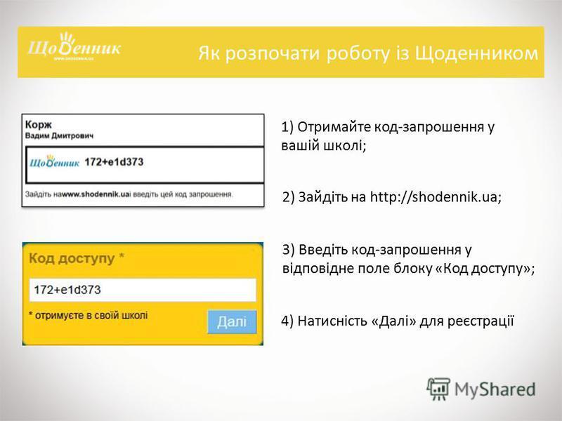 Як розпочати роботу із Щоденником 1) Отримайте код-запрошення у вашій школі; 2) Зайдіть на http://shodennik.ua; 3) Введіть код-запрошення у відповідне поле блоку «Код доступу»; 4) Натисність «Далі» для реєстрації