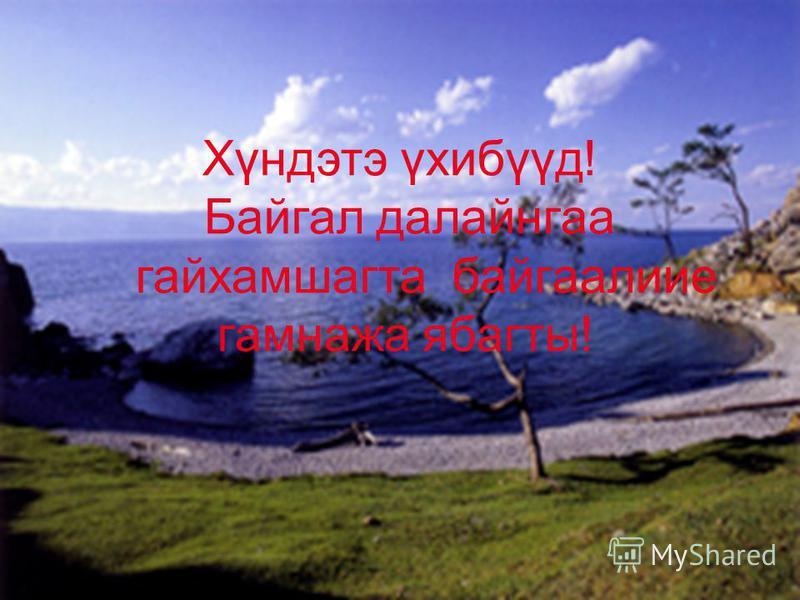 Хүндэтэ үхибүүд! Байгал далайнгаа гайхамшагта байгаалиие гамнажа ябагты!