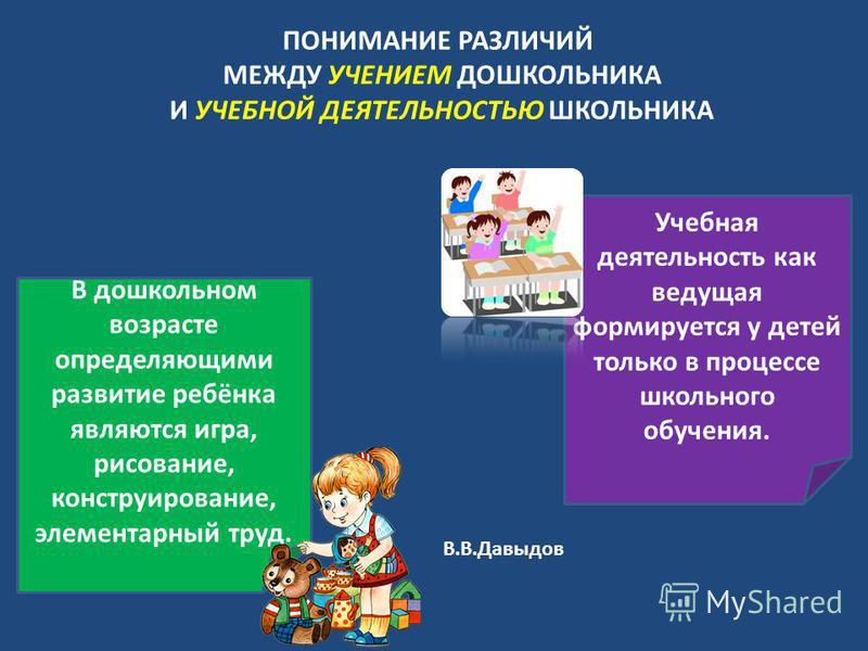 ПОНИМАНИЕ РАЗЛИЧИЙ МЕЖДУ УЧЕНИЕМ ДОШКОЛЬНИКА И УЧЕБНОЙ ДЕЯТЕЛЬНОСТЬЮ ШКОЛЬНИКА В дошкольном возрасте определяющими развитие ребёнка являются игра, рисование, конструирование, элементарный труд. Учебная деятельность как ведущая формируется у детей тол