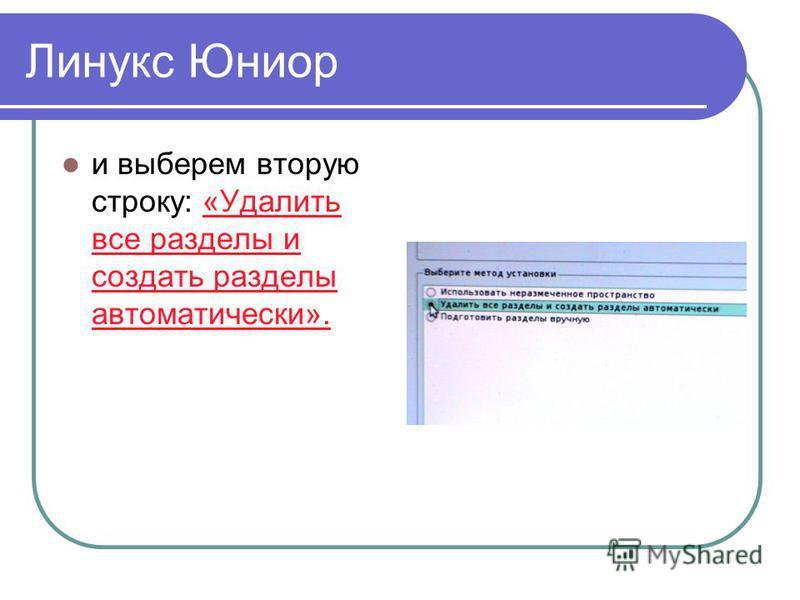 Линукс Юниор и выберем вторую строку: «Удалить все разделы и создать разделы автоматически».