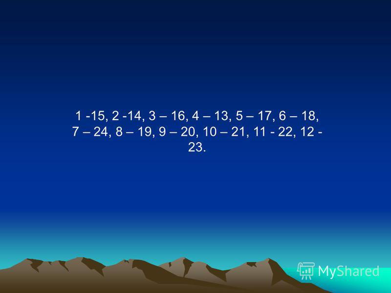 1 -15, 2 -14, 3 – 16, 4 – 13, 5 – 17, 6 – 18, 7 – 24, 8 – 19, 9 – 20, 10 – 21, 11 - 22, 12 - 23.