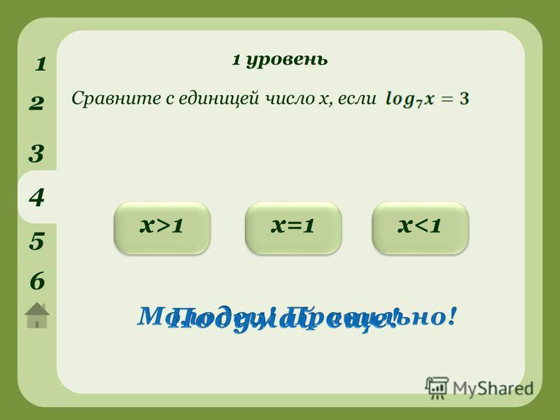 1 уровень 1 2 3 4 5 6 х<1 х<1 х>1 х>1 х=1 Сравните с единицей число х, если