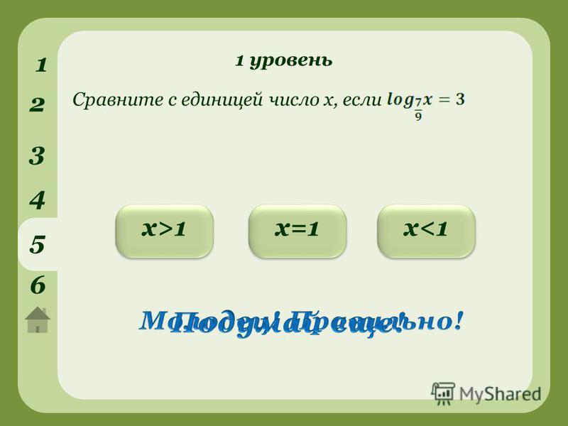 1 уровень 1 2 3 4 5 6 х>1 х>1 х<1 х<1 х=1 Сравните с единицей число х, если