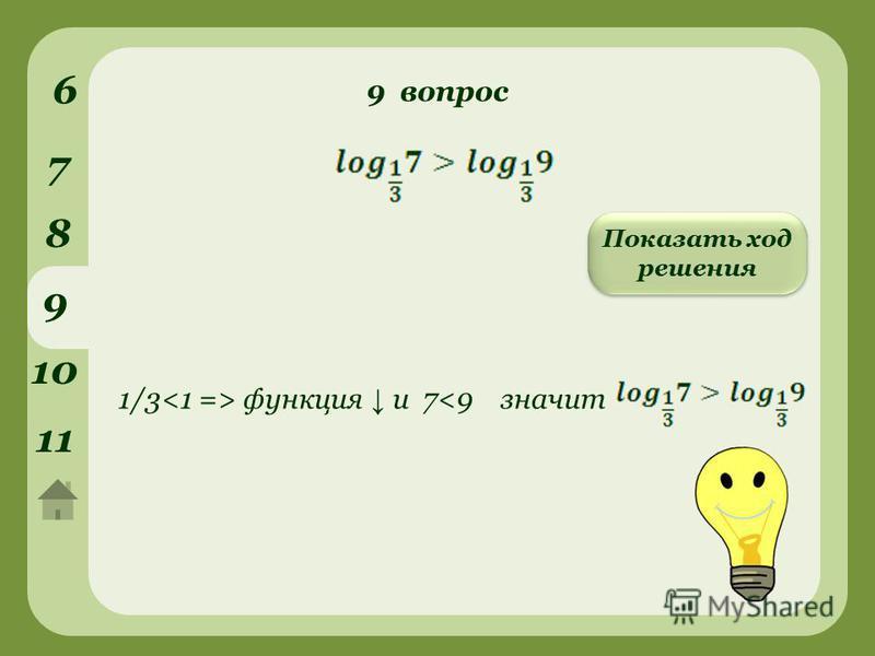 9 вопрос 6 7 8 9 10 1111 Показать ход решения 1/3 функция и 7<9 значит