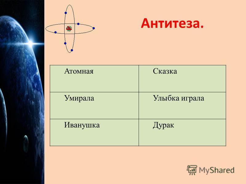 Антитеза. Атомная Сказка Умирала Улыбка играла Иванушка Дурак