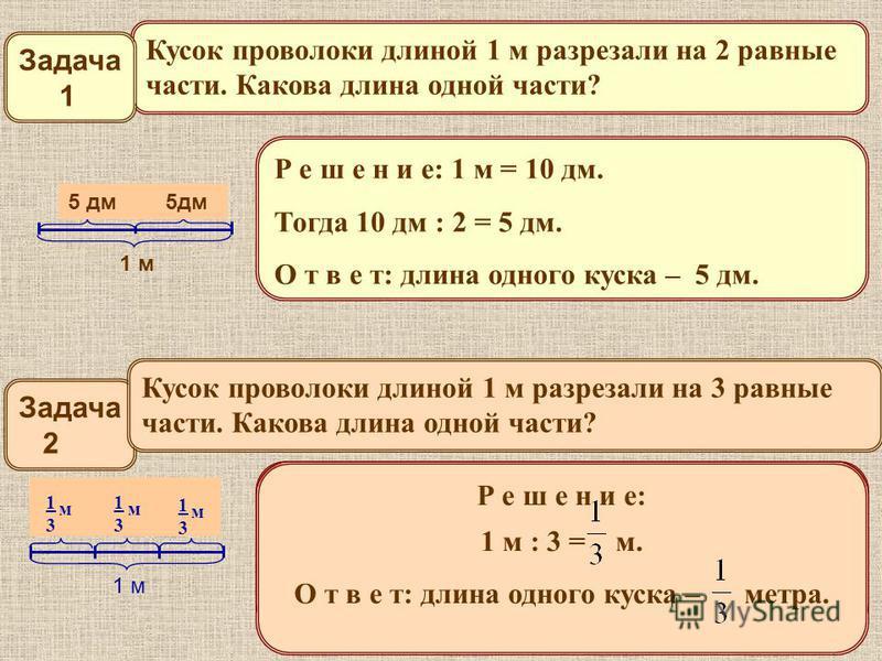 Р е ш е н и е: 1 м = 10 дм. Тогда 10 дм : 2 = 5 дм. О т в е т: длина одного куска – 5 дм. ?? 1 м Кусок проволоки длиной 1 м разрезали на 2 равные части. Какова длина одной части? Задача 1 5 дм 5 дм Задача 2 Кусок проволоки длиной 1 м разрезали на 3 р