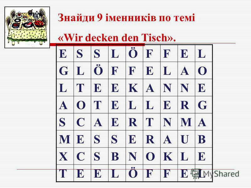 ESSLÖFFEL GLÖFFELAO LTEEKANNE AOTELLERG SCAERTNMA MESSERAUB XCSBNOKLE TEELÖFFEL Знайди 9 іменників по темі «Wir decken den Tisch».
