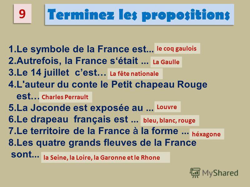 1.Le symbole de la France est... 2.Autrefois, la France sétait... 3.Le 14 juillet cest… 4.L'auteur du conte le Petit chapeau Rouge est… 5.La Joconde est exposée au... 6.Le drapeau français est... 7.Le territoire de la France à la forme... 8.Les quatr