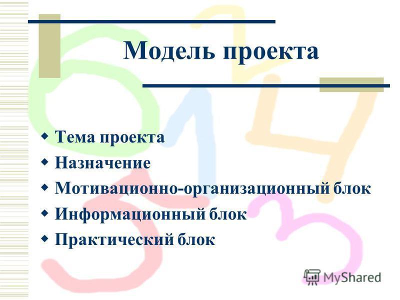 Модель проекта Тема проекта Назначение Мотивационно-организационный блок Информационный блок Практический блок