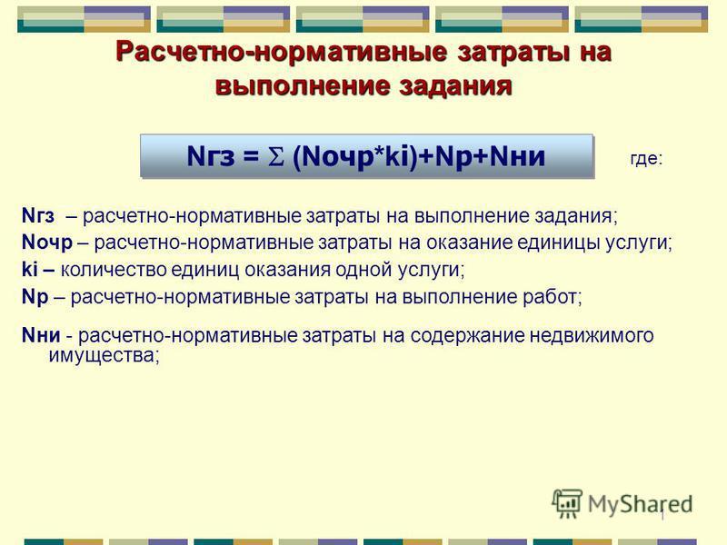 1 Расчетно-нормативные затраты на выполнение задания N гдз = (N очер *k i )+N р +N ни Nгдз – расчетно-нормативные затраты на выполнение задания; Nочер – расчетно-нормативные затраты на оказание единицы услуги; ki – количество единиц оказания одной ус