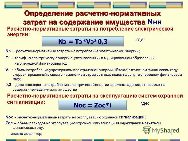 9 Определение расчетно-нормативных затрат на содержание имущества Определение расчетно-нормативных затрат на содержание имущества Nни Nэ = Тэ*Vэ*0,3 Nос = Zос*i Расчетно-нормативные затраты на потребление электрической энергии: Nэ – расчетно-норматив