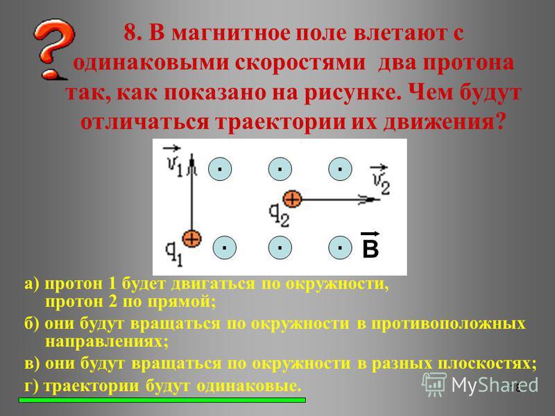 18 8. В магнитное поле влетают с одинаковыми скоростями два протона так, как показано на рисунке. Чем будут отличаться траектории их движения? а) протон 1 будет двигаться по окружности, протон 2 по прямой; б) они будут вращаться по окружности в проти
