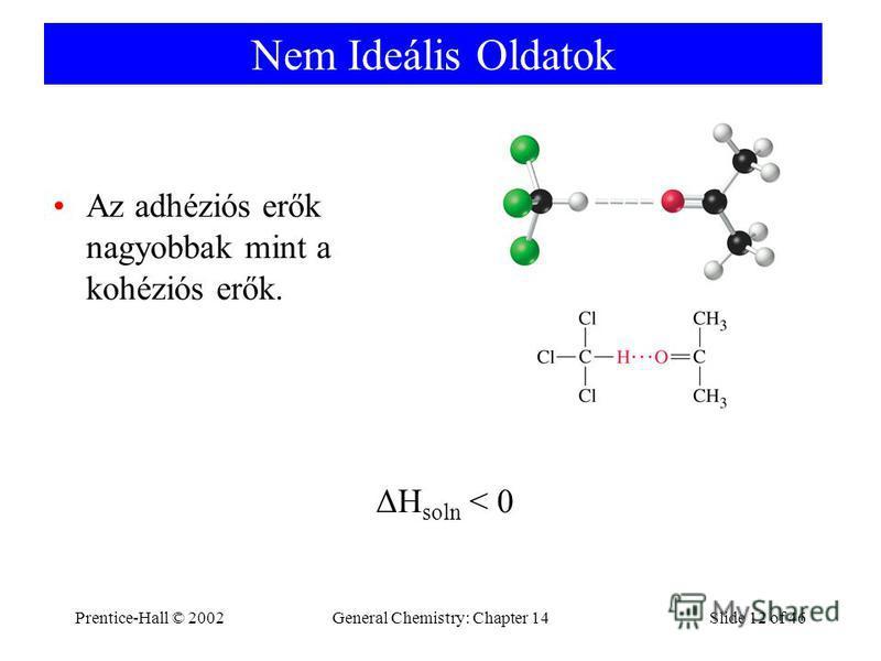 Prentice-Hall © 2002General Chemistry: Chapter 14Slide 12 of 46 Nem Ideális Oldatok Az adhéziós erők nagyobbak mint a kohéziós erők. ΔH soln < 0