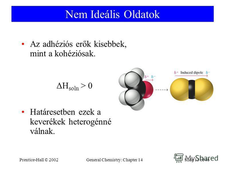 Prentice-Hall © 2002General Chemistry: Chapter 14Slide 13 of 46 Nem Ideális Oldatok Az adhéziós erők kisebbek, mint a kohéziósak. Határesetben ezek a keverékek heterogénné válnak. ΔH soln > 0