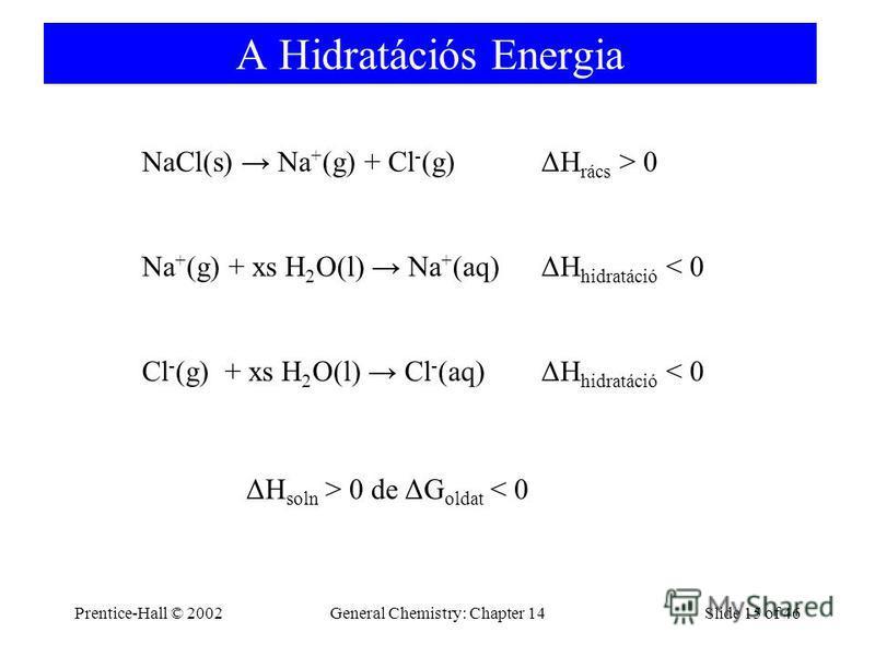 Prentice-Hall © 2002General Chemistry: Chapter 14Slide 15 of 46 A Hidratációs Energia NaCl(s) Na + (g) + Cl - (g)ΔH rács > 0 Na + (g) + xs H 2 O(l) Na + (aq)ΔH hidratáció < 0 Cl - (g) + xs H 2 O(l) Cl - (aq)ΔH hidratáció < 0 ΔH soln > 0 de ΔG oldat <