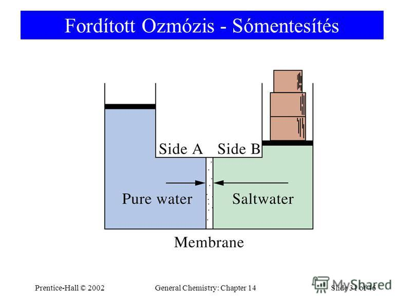 Prentice-Hall © 2002General Chemistry: Chapter 14Slide 31 of 46 Fordított Ozmózis - Sómentesítés