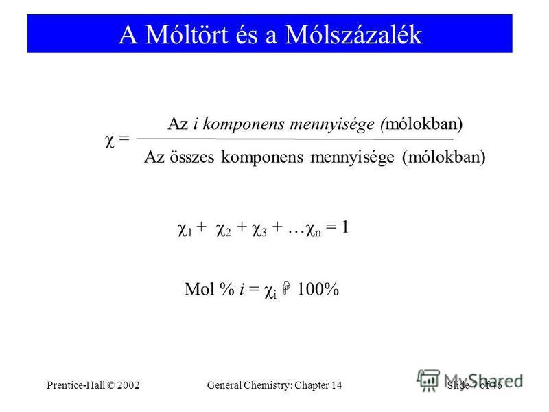 Prentice-Hall © 2002General Chemistry: Chapter 14Slide 7 of 46 A Móltört és a Mólszázalék = Az i komponens mennyisége (mólokban) Az összes komponens mennyisége (mólokban) 1 + 2 + 3 + … n = 1 Mol % i = i 100%
