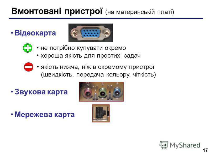 17 Вмонтовані пристрої (на материнській платі) Відеокарта Звукова карта Мережева карта не потрібно купувати окремо хороша якість для простих задач якість нижча, ніж в окремому пристрої (швидкість, передача кольору, чіткість)