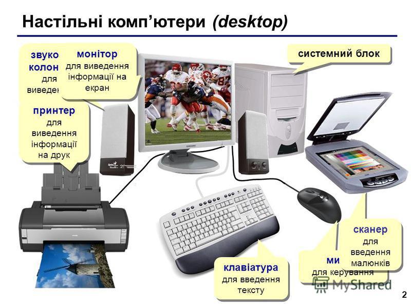 2 Настільні компютери (desktop) системний блок звукові колонки для виведення звуку принтер для виведення інформації на друк принтер для виведення інформації на друк мишка для керування сканер для введення малюнків сканер для введення малюнків монітор