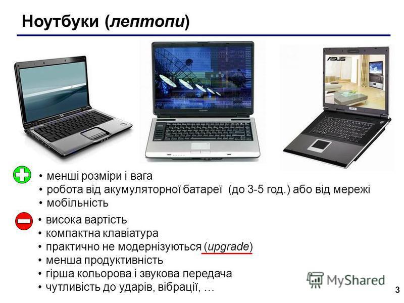 3 Ноутбуки (лептопи) менші розміри і вага робота від акумуляторної батареї (до 3-5 год.) або від мережі мобільність висока вартість компактна клавіатура практично не модернізуються (upgrade) менша продуктивність гірша кольорова і звукова передача чут