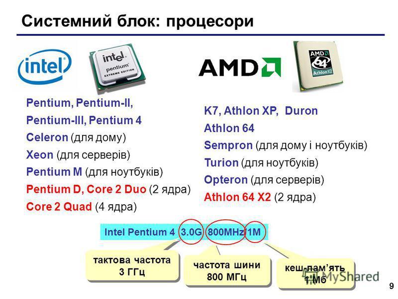 9 Системний блок: процесори Pentium, Pentium-II, Pentium-III, Pentium 4 Celeron (для дому) Xeon (для серверів) Pentium M (для ноутбуків) Pentium D, Core 2 Duo (2 ядра) Core 2 Quad (4 ядра) Intel Pentium 4 3.0G 800MHz/1M тактова частота 3 ГГц частота