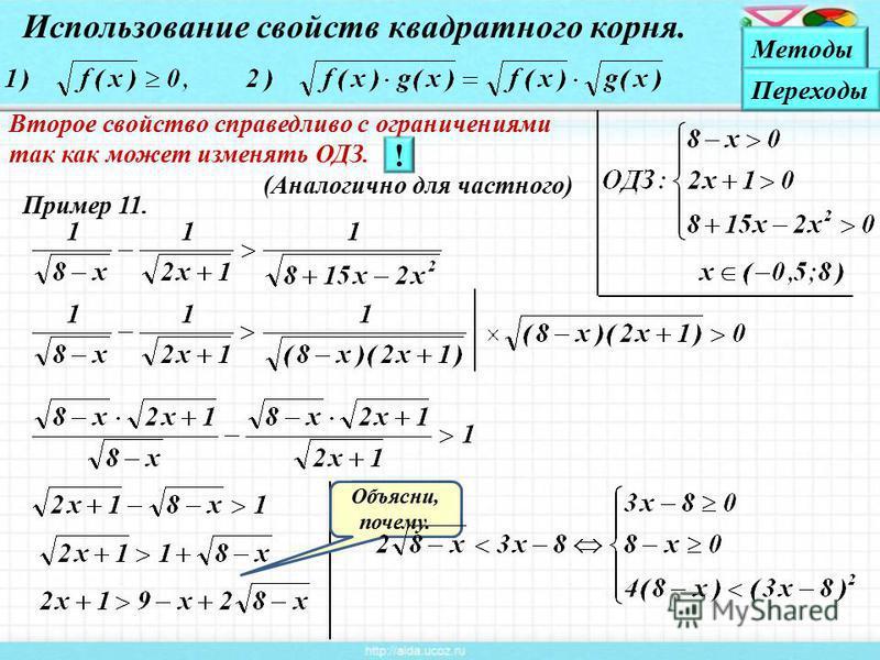 Пример 11. Использование свойств квадратного корня. Объясни, почему. Второе свойство справедливо с ограничениями так как может изменять ОДЗ. (Аналогично для частного) ! Методы Переходы