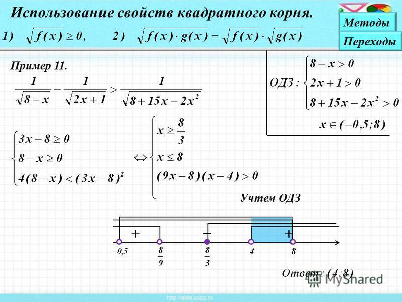 Пример 11. Учтем ОДЗ Использование свойств квадратного корня. Методы Переходы