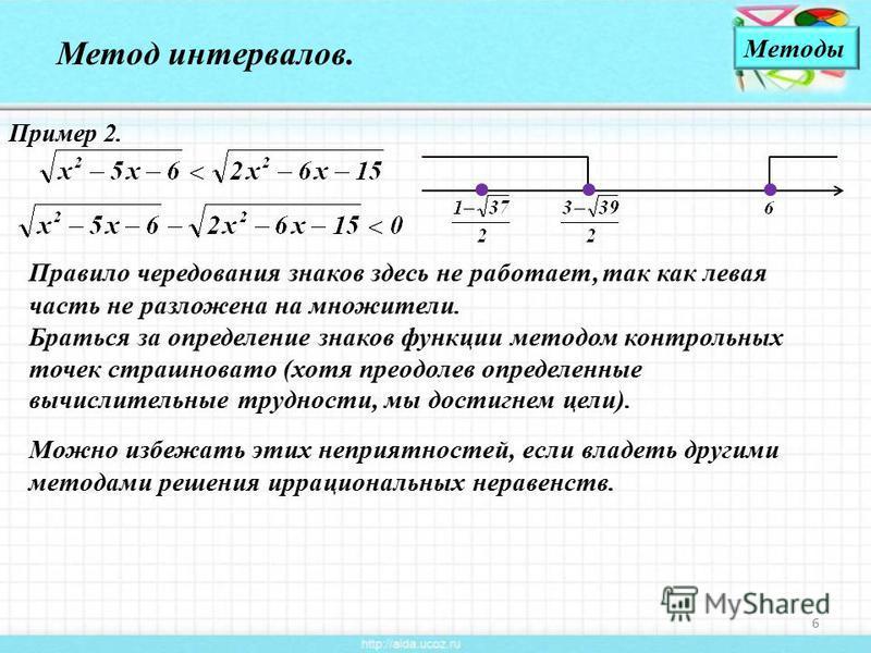 6 Метод интервалов. Пример 2. Правило чередования знаков здесь не работает, так как левая часть не разложена на множители. Браться за определение знаков функции методом контрольных точек страшновато (хотя преодолев определенные вычислительные труднос