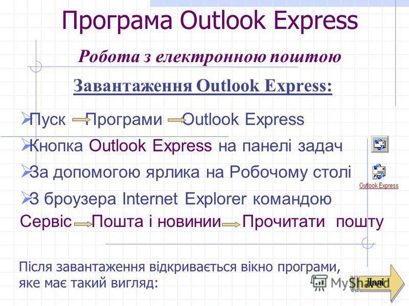 Програма Outlook Express Робота з електронною поштою Завантаження Outlook Express: Пуск Програми Outlook Express Кнопка Outlook Express на панелі задач За допомогою ярлика на Робочому столі З броузера Internet Explorer командою Сервіс Пошта і новинии
