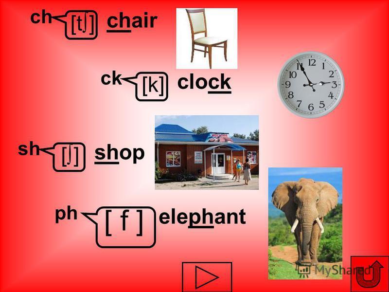 [t] ch chair [k] ck clock [] sh shop ph elephant [ f ]