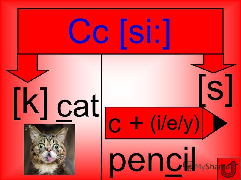 Cc [si:] [k] [s] cat pencil (i/e/y) c +