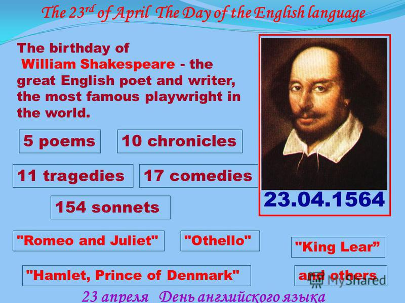 The 23 rd of April The Day of the English language 23 апреля День английского языка The birthday of William Shakespeare - the great English poet and writer, the most famous playwright in the world. 23.04.1564 5 poems10 chronicles 17 comedies 154 sonn
