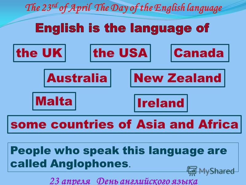 People who speak this language are called Anglophones. the UKthe USACanada Ireland Malta AustraliaNew Zealand some countries of Asia and Africa The 23 rd of April The Day of the English language 23 апреля День английского языка