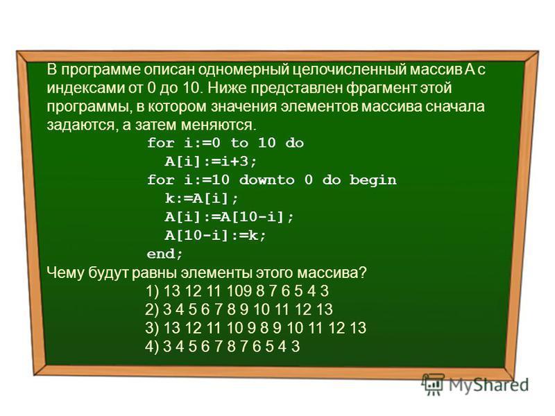В программе описан одномерный целочисленный массив A с индексами от 0 до 10. Ниже представлен фрагмент этой программы, в котором значения элементов массива сначала задаются, а затем меняются. for i:=0 to 10 do A[i]:=i+3; for i:=10 downto 0 do begin k